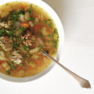Vegetable Soup with Pesto Turkey Meatballs (Gluten-Free).