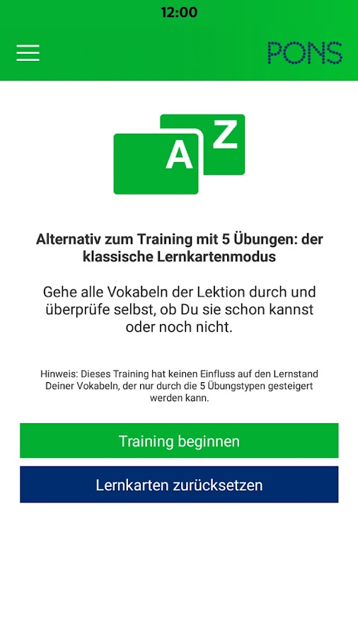 PONS Vokabeltrainer – Screenshot