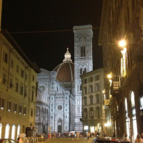 The Duomo at Night by Susan D'Angelo - City,  Street & Park  Street Scenes ( italian, church, street, dome, cityscape, duomo, landscape, city, buidlings, florence, cars, cathedral, italy )