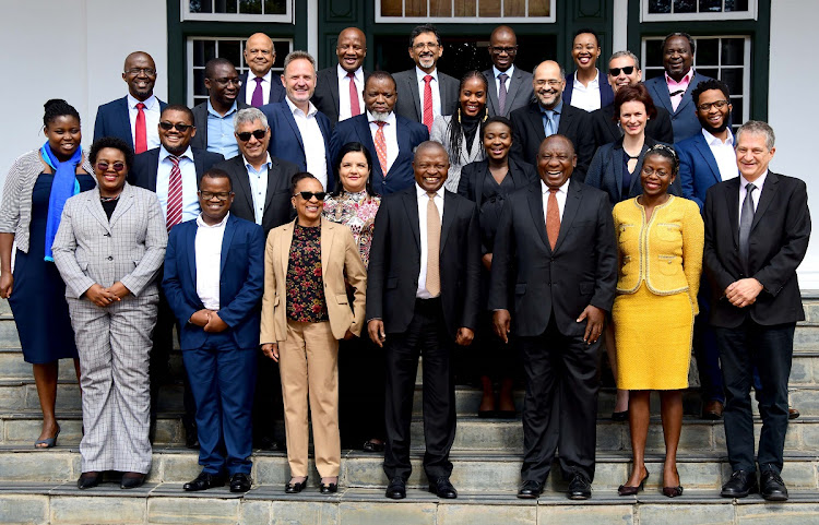 Members of the economic advisory council. Front row (L-R): Khensani Kubayi, Wandile Sihlobo, Renosi Mokate, David Mabuza, Cyril Ramaphosa, Trudy Makhaya and Alan Hirsch. 2nd Row (L-R) Mampho Modise, Busani Ngcaweni, Imraan Valodia, Tania Ajam, Mamello Matikinca-Ngwenya, Fiona Tregenna, Ayabonga Cawe. 3rd Row (L-R) Mzukisi Qobo, Liberty Mncube, Kenneth Creamer, Gwede Mantashe, Thabi Leoka, Haroon Bhorat, Grové Steyn. Back Row (L-R): Pravin Gordhan, Ebrahim Patel, David Masondo, Stella Ndabeni-Abrahams and Tito Mboweni. Picture: GCIS/ELMOND JIYANE
