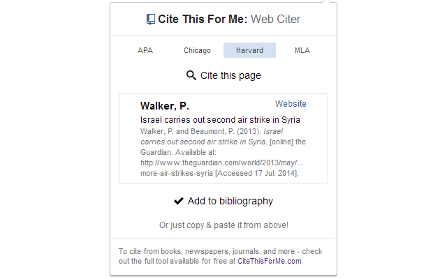 Cite this for me web citer chrome web store automatically create website citations in the apa mla chicago or harvard referencing styles at the click of a button ccuart Choice Image