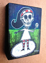 Photo: Sad Girl. 04.09.2013. 2.5 in x 3.5 in x 0.75 in or 6 cm x 9 cm x 2 cm. Gesso, acrylics, and ink on found wood. Signed on the front; title and signature on the back. Sealed with a matte finish. ©Marisol McKee
