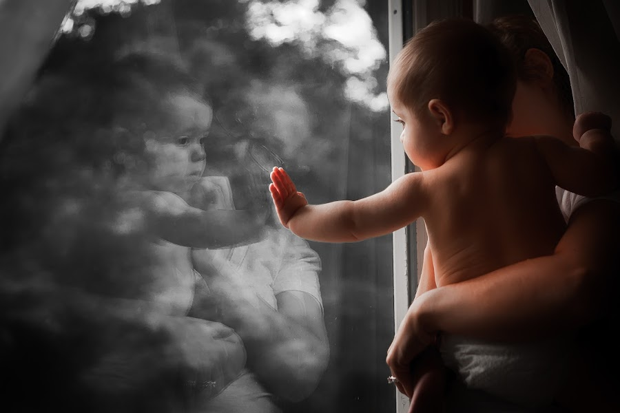 Baby Touch by Mike DeMicco - Babies & Children Babies ( love, babies, reflection, window, mommy, adorable, baby, cute, boy )