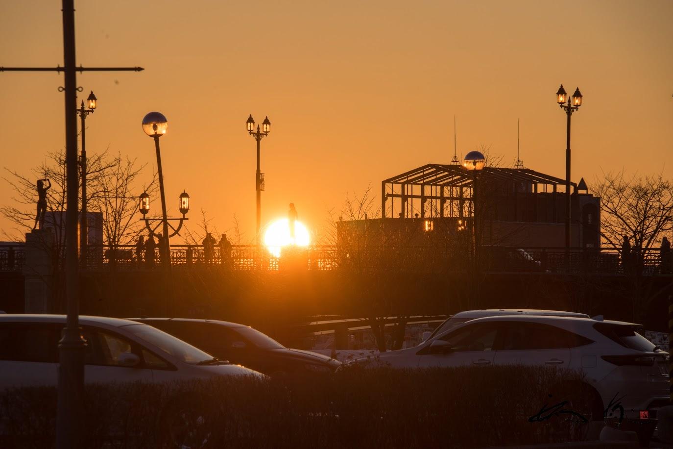 幣舞橋(釧路市)の美しい夕陽