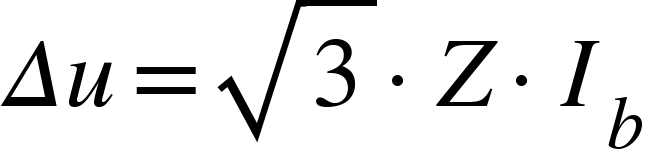 """<math xmlns=""""http://www.w3.org/1998/Math/MathML""""><mi>&#x394;</mi><mi>u</mi><mo>=</mo><msqrt><mn>3</mn></msqrt><mo>&#xB7;</mo><mi>Z</mi><mo>&#xB7;</mo><msub><mi>I</mi><mi>b</mi></msub></math>"""