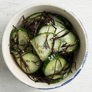 Japanese-Style Pickled Cucumbers with Seaweed and Sesame.