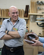 Photo: Mike Colella presents his walnut bowl with turquoise