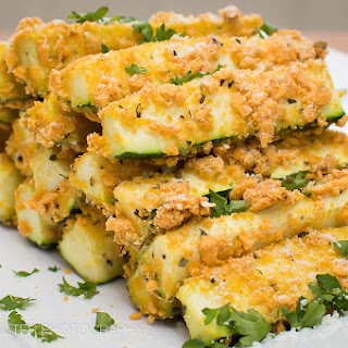 Baked Cheddar and Parmesan Zucchini Sticks