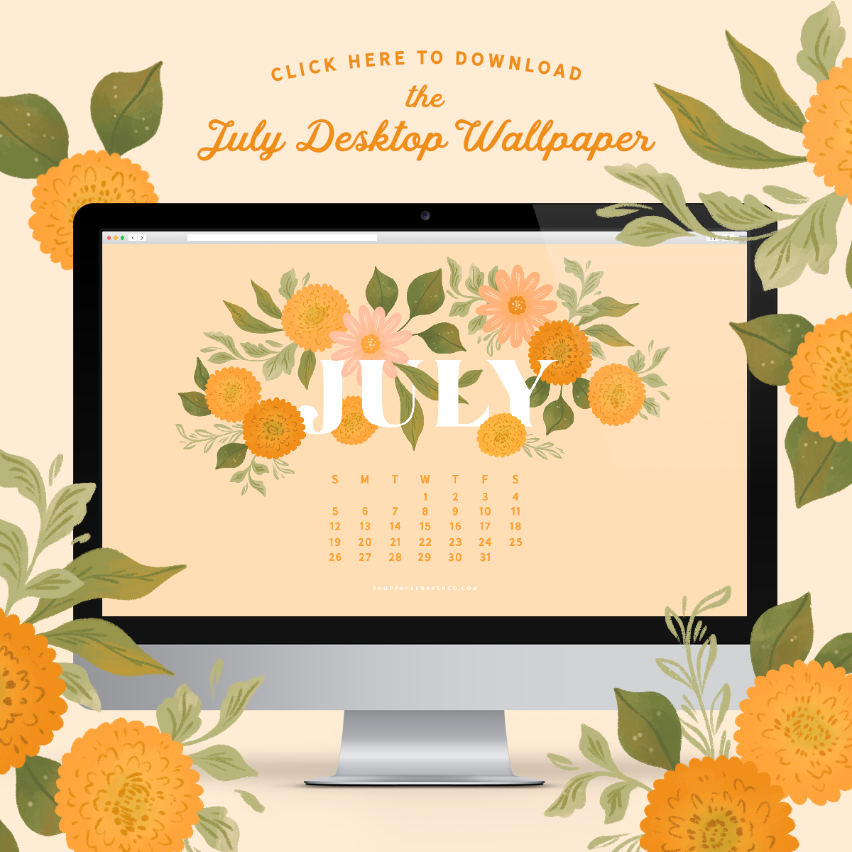 July 2020 Illustrated Desktop Wallpaper by Paper Raven Co. #dressyourtech #desktopwallpaper #desktopdownload