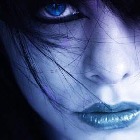 Look At Me by Keith Williams - People Portraits of Women ( unmadesugar, model, purple, blue, female, art, photoshop, eye )