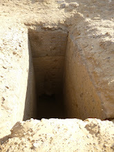 Photo: Looted shaft tomb (visible side chamber below)