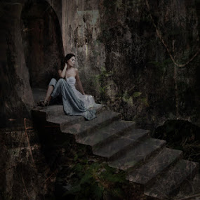 Still Here by Al Hilal - People Fine Art ( girl, stairs, waiting, old building, dark house )