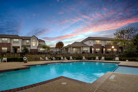 West Virginia Park apartment swimming pool at dusk