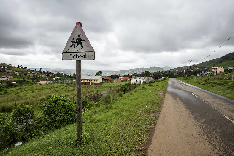 The road next to Laduma High in Edenvale, KwaZulu-Natal, where Priscilla Mchunu was murdered in front of her matric class.
