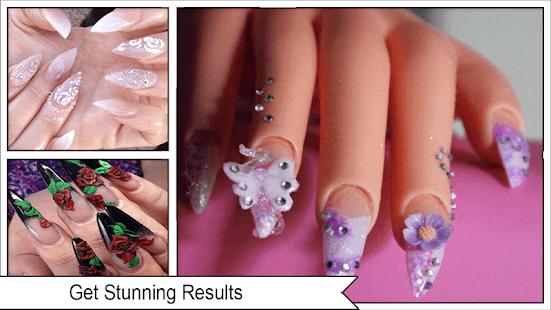 3D Acrylic Roses Stiletto Nails - náhled