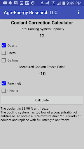 Screenshot for Coolant Correction Calculator in United States Play Store