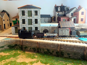 "Photo: 018 A Beyer Peacock tram loco negotiates ""the point"" on John Bruce's Wherewithial Quay. Recent development to this attractive and evolving scene has been to the buildings in the top right corner ."