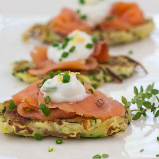 Herbed Potato and Vegetable Pancakes With Smoked Salmon And Lemon-Chive Cream