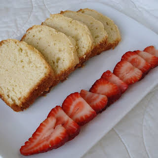 Cream Cheese Pound Cake with Strawberries.