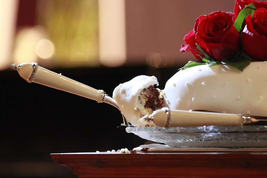 Cutting the Cake by Joanna Vandervalk - Wedding Reception ( lighting, crumbs, bokeh )