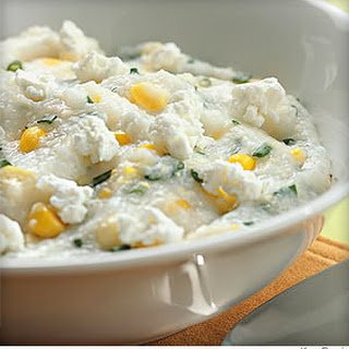 Goat Cheese Grits With Fresh Corn.