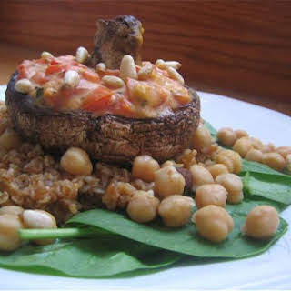 Hummus Stuffed Portobello.