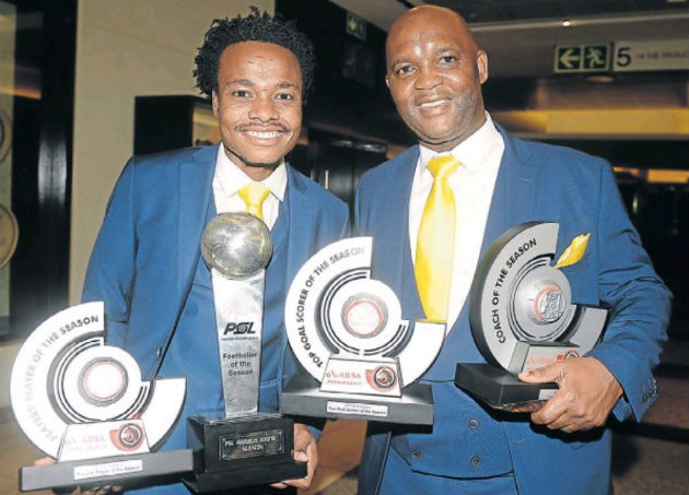 Mamelodi Sundowns star Percy Tau and coach Pitso Mosimane show off their clutch of awards at the Premier Soccer League 2017-18 awards evening at the Sandton Convention Centre in Johannesburg on Tuesday