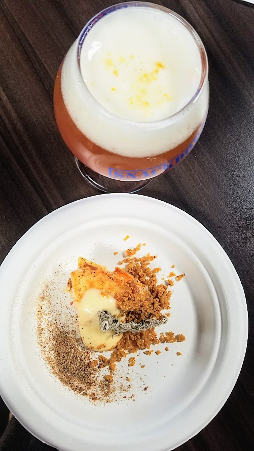 Snackdown 2017 for PDX Beer Week, a food and beer pairing event with a wrestling theme offering 10 Portland chef and 10 Oregon brewers working together Toro Bravo/Hopworks presented Baller Fish & Chips with a fancy almost cocktail style presentation Berliner Weisse with cherry syrup + lemon foam