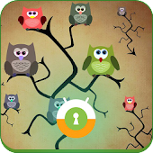 Funny Colorful Owl Wall & Lock