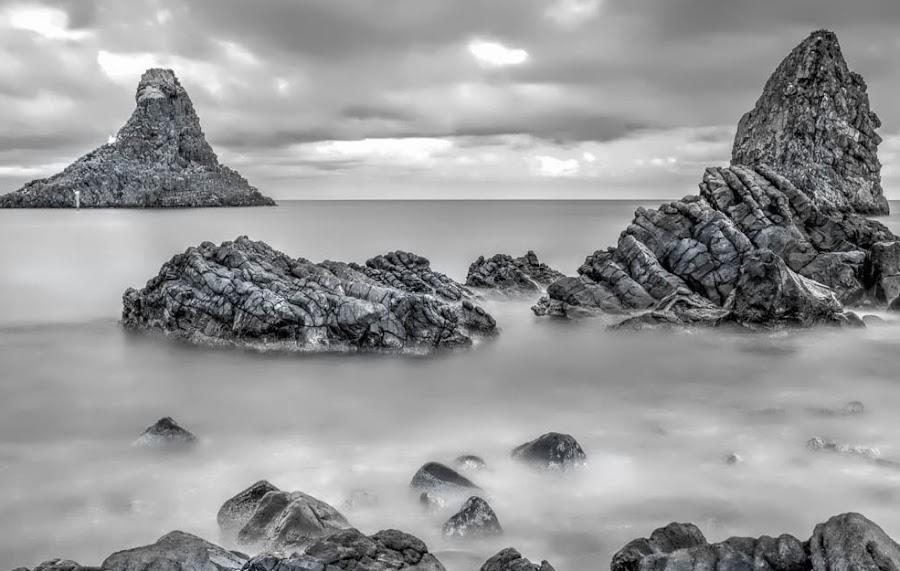 Rocks in sea by Maurizio Santonocito - Black & White Landscapes ( d7100, seascape, landscape, rocks, sicily )