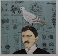 """Photo: Tesla and His Favorite Things, 20 x 20"""", intaglio, polyester plate lithography, water color pencils, gouache, collage"""