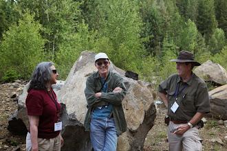 Photo: Shiela Alfsen, Bill Orr, and Frank Hladky at Camas Land sill