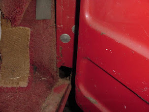 Photo: Lower edge of passenger door pillar needs a little rust repair.