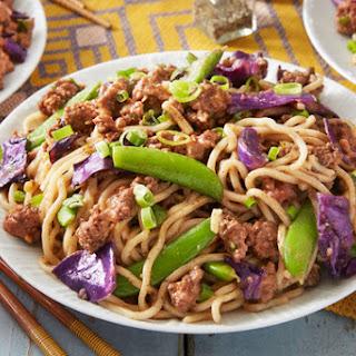 Beef Lo Mein with Black Garlic & Sugar Snap Peas.