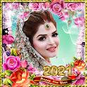 Happy new year photo frame 2021 icon