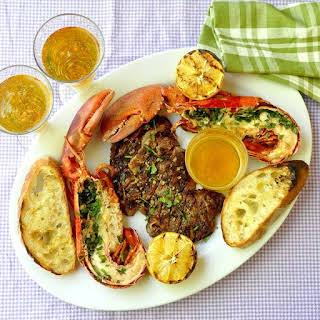 Herb Grilled Lobster Surf n Turf with Lemon Garlic Brown Butter.