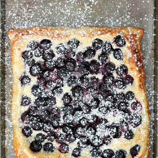 Blueberries and Cream Tart made with Puff Pastry.