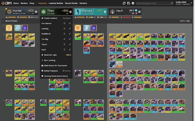 destiny item manager shortcut