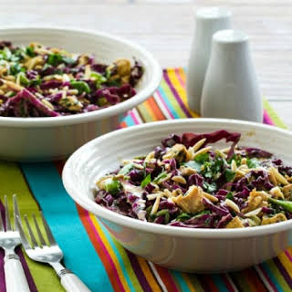 Red Cabbage and Chicken Asian Salad with Tangy Cilantro Dressing.