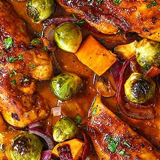 One Pan Roasted Garlic Chicken and Vegetables.