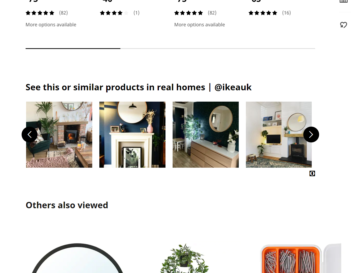 Ikea product page using user-generated content as a creative marketing strategy.