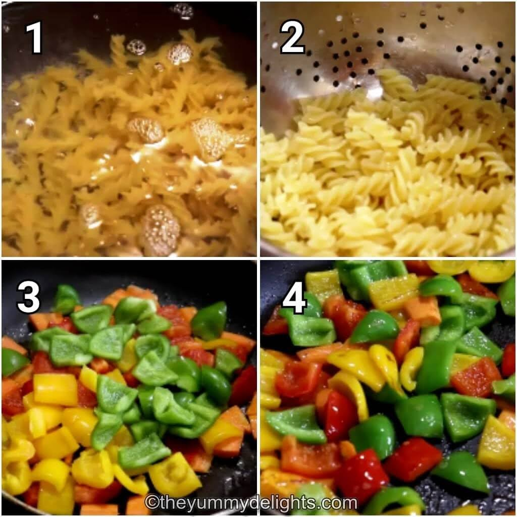 step by step collage of cooking the pasta & sauteing the carrots and bell peppers