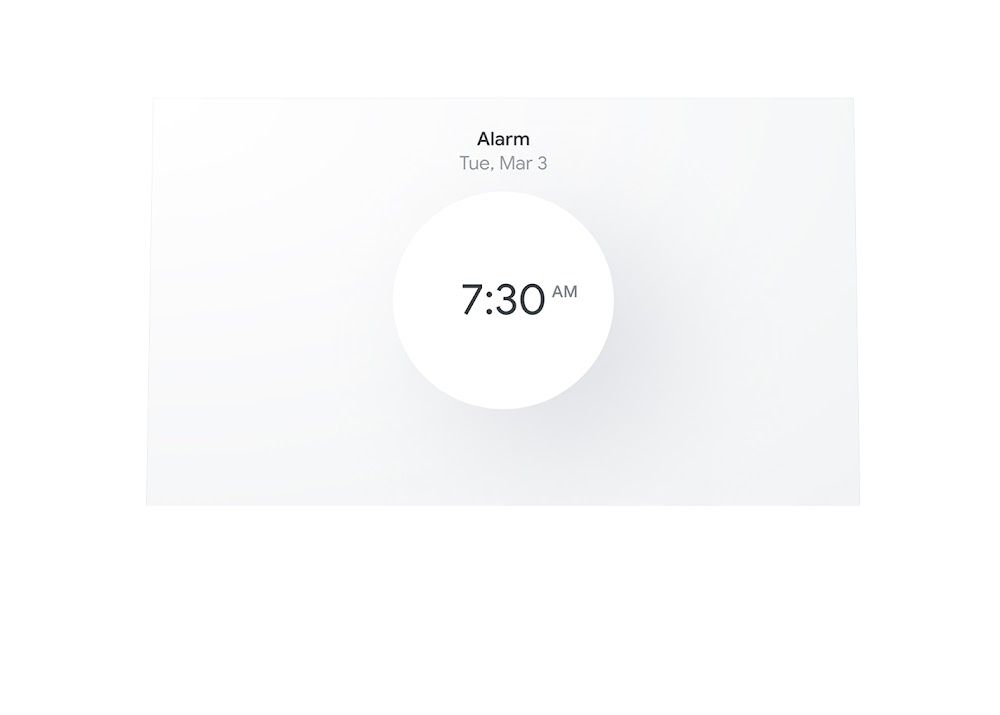 Image of a Nest Hub's screen showing an alarm scheduled for 7:30 AM