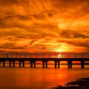 Golden Sunset by Keith Walmsley - Landscapes Sunsets & Sunrises ( water, clouds, sunset, pier, landscape, golden hour )