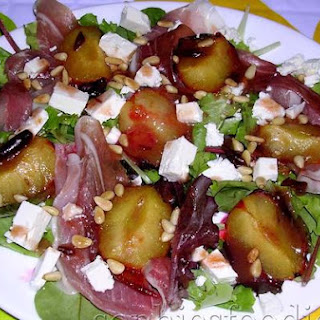 Sophie's Summer Salad With Roasted Plums, Sheep's Feta, Pine Nuts, Prosciutto & A Plum Dressing !.