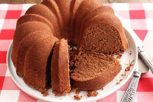 "Nana's Chocolate Pound Cake ""Thumbing through a binder of recipes Mom has..."