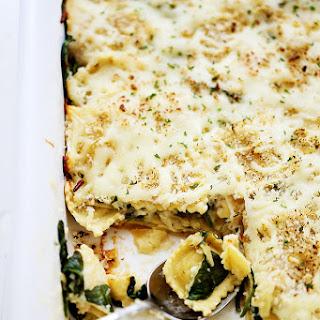 Spinach and Four Cheese Ravioli Lasagna.