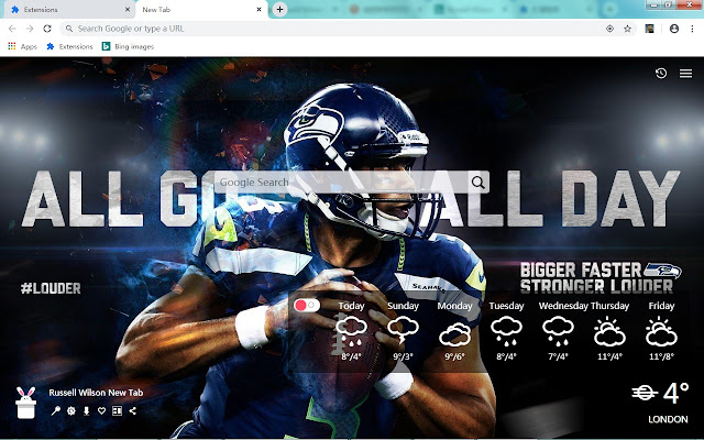 Russell Wilson New Tab, Wallpapers HD