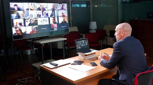El presidente de la RFEF en una videoconferencia.