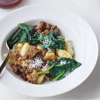 Gnocchi with Sausage and Spinach.